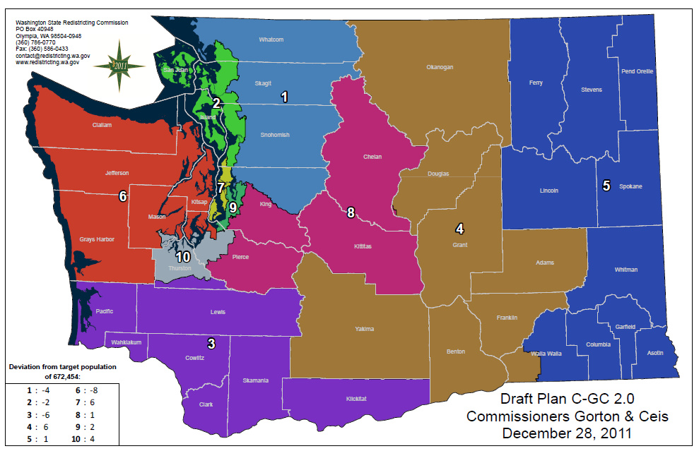 Wa Redistricting Congressional Map Proposal Of Bipartisan Team Released The Northwest Daily Marker