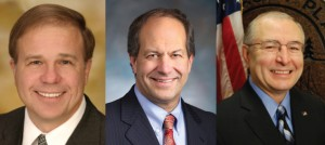 Republican nominees to fill the vacant 28th legislative district state Senate seat, from left to right, Dick Muri, Steve O'Ban and Javier Figueroa.