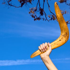 Boomerang in front of a blue sky