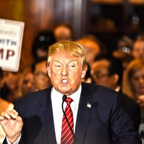 New York City – NY – USA – September 3 2015: Republican presidential candidate Donald Trump during press conference at Trump Tower. [photo credit: iStock.com/andykatz]